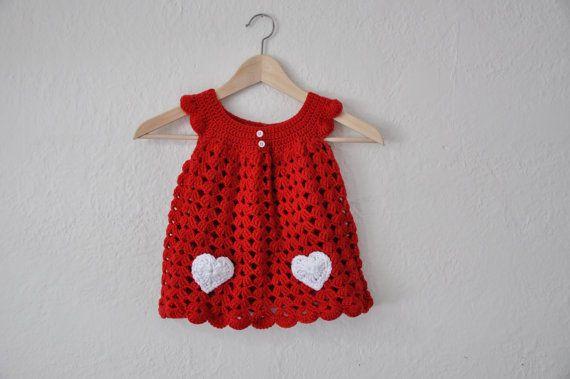 Little Sweetheart Crochet Baby Dress Red by courtneyannabanana, $45.00