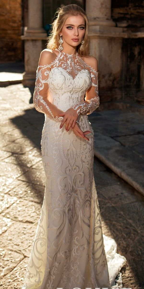 39 Vintage Inspired Wedding Dresses ❤ sheath lace illusion neckline open shoulders vintage inspired wedding dresses louise sposa ❤ See more: http://www.weddingforward.com/vintage-inspired-wedding-dresses/ #weddingforward #wedding #bride