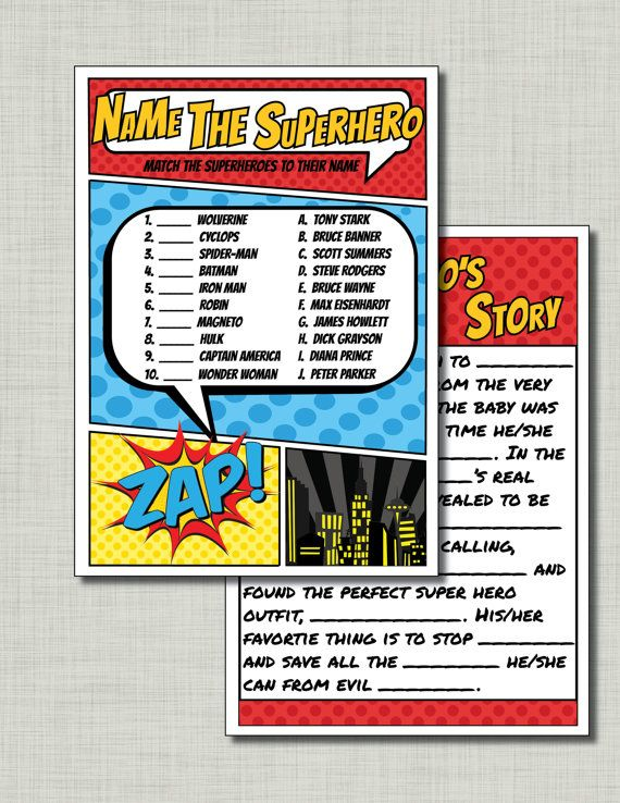 Super fun superhero baby shower games.  Great for coed baby showers.  Easy to print off!