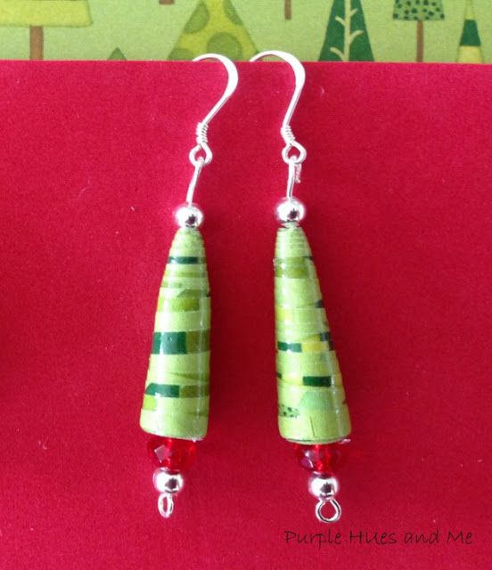 Paper Bead Christmas Tree Earrings - Christmas in July 3:50 AM Gail @Purple Hues and Me 10 commentsPaper Bead Christmas Tree Earrings - Christmas in July