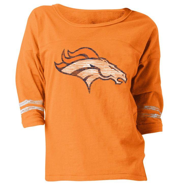 Denver Broncos New Era Women's Hard Count 3/4-Sleeve Scoop Neck T-Shirt - Orange