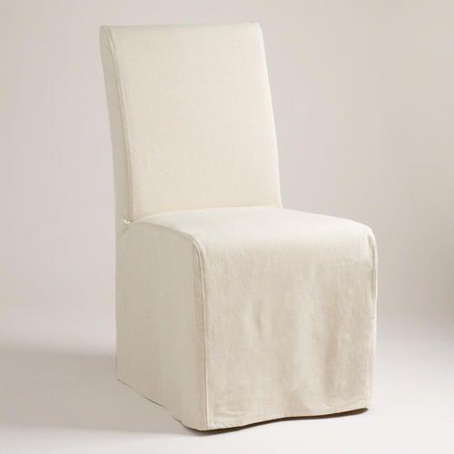 Linen Long Anna Chair Slipcover Dining Room SlipcoversDining