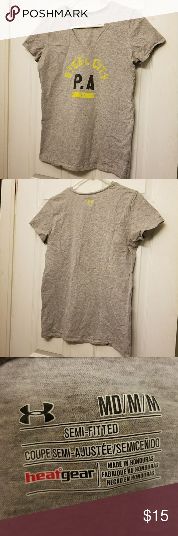 Under Armour Steelers t-shirt Women's v-neck t-shirt, Steelers. Size medium Under Armour Tops Tees - Short Sleeve