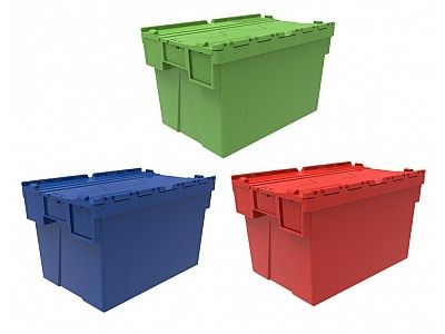 65 Litre Super Strong Attached Lid Container - Lidded Plastic Storage Box
