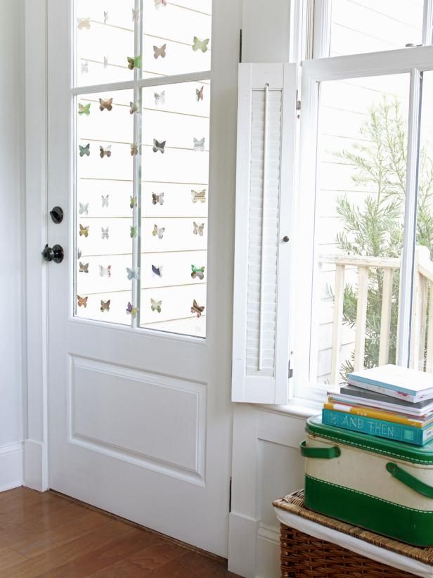White Window and Door With Butterfly Garland