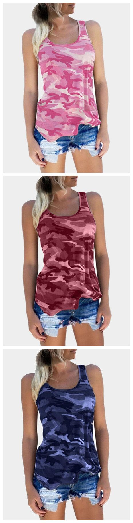 The camouflage top is a perfect casual top featuring round neck and sleeveless. Style it with shorts for a fresh look.