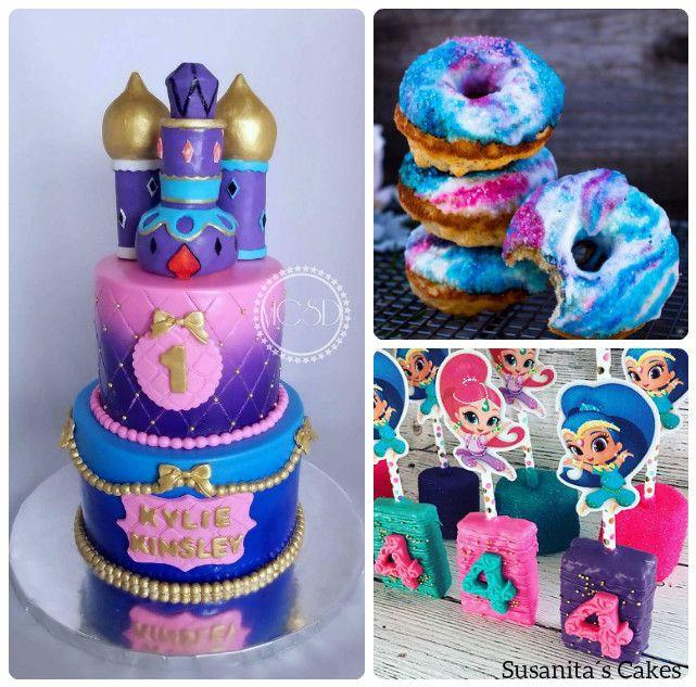 Ideas dulces para una celebración de tema Shimmer and Shine! !... si quieres saber como se hacen donas así ve el video de en mi facebook.....#ideas #partyideas #cake #torta #tarta #pastel #decoratedcake #sweets #dessert #celebracion #shimmerandshineparty #shimmerandshine #susanitascakes #talentovenezolano