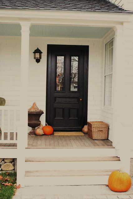 """for the love of a house: """"An entryway is an introduction....""""-exterior door painted BM Regal select mooGlo soft gloss in black. Ceiling is California Paints DE5770 Smoke and mirrors in flat."""