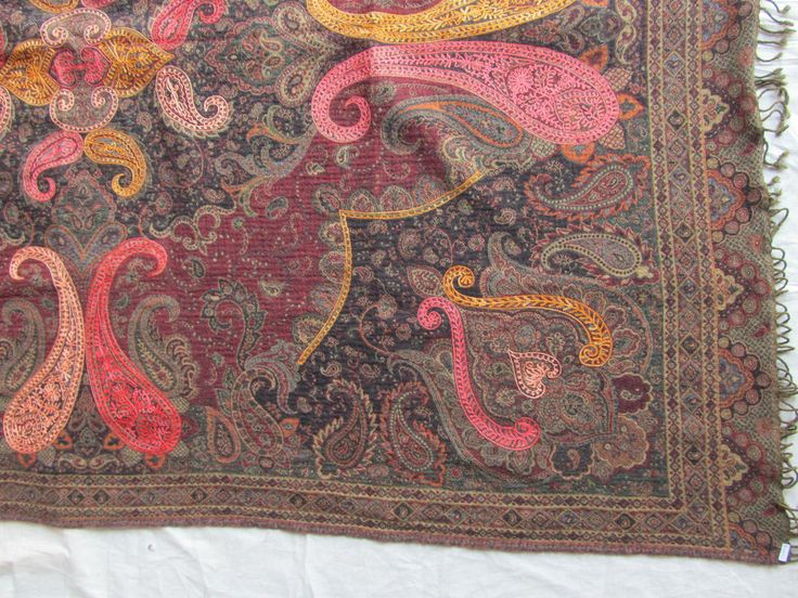 BOILED WOOL SHAWL PAISLEY HAND EMBROIDERY DESIGN JAMAWAR CASHMERE THROW BED 3992