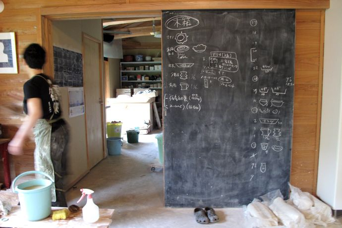 Production schedule on blackboard barn door.  Love it.
