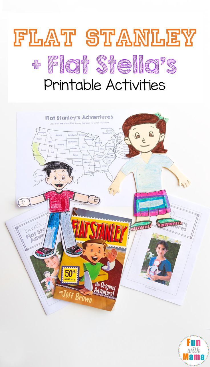 Flat Stanley Printable activities, ideas, adventure journal, state map, letters and more. Includes Flat Stella too! via @funwithmama