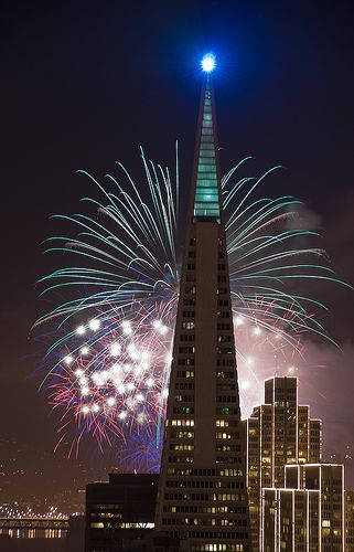 San Francisco New Year's fireworks 2    New Year's Fireworks behind the Transamerica Building. San Francisco    photo by Can Balcioglu via flickr