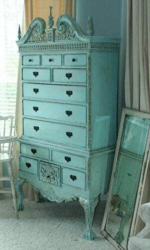 A surprising pop of color in a white, cottage, shabby chic room. Vintage Dresser
