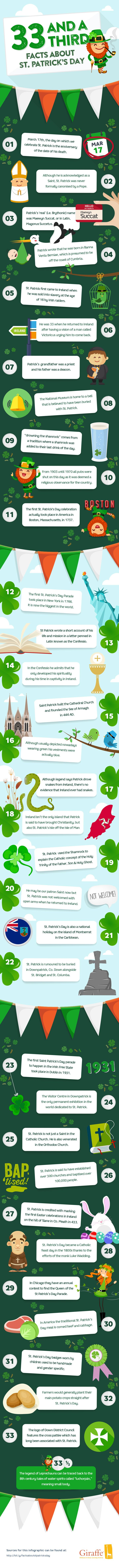 33 and a Third Facts about St Patrick's Day #infographic #StPatricksDay #Travel