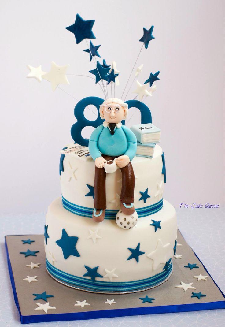 La tarta de cumpleaños de Andrés, 80 años, felicidades