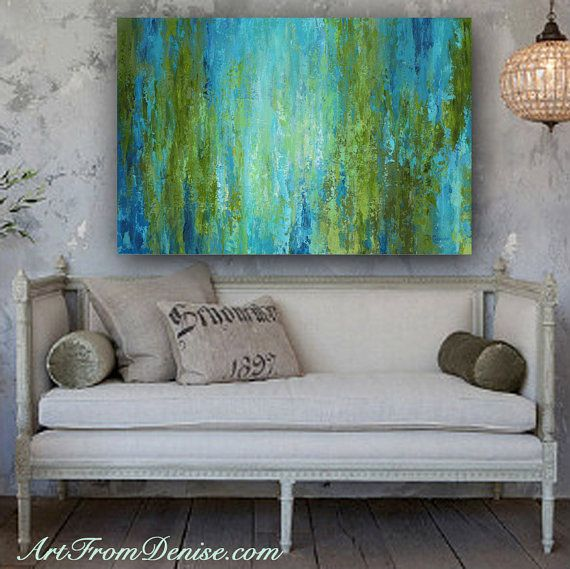 Large Wall Art Abstract Canvas Print Turquoise Olive Green Blue Or Teal Home Decor