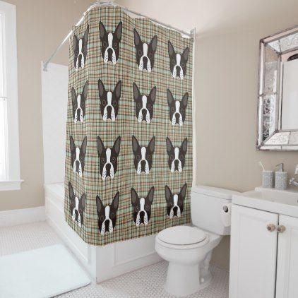 Boston Terrier Puppy Dog Tartan Plaid Shower Curtain - shower curtains home decor custom idea personalize bathroom
