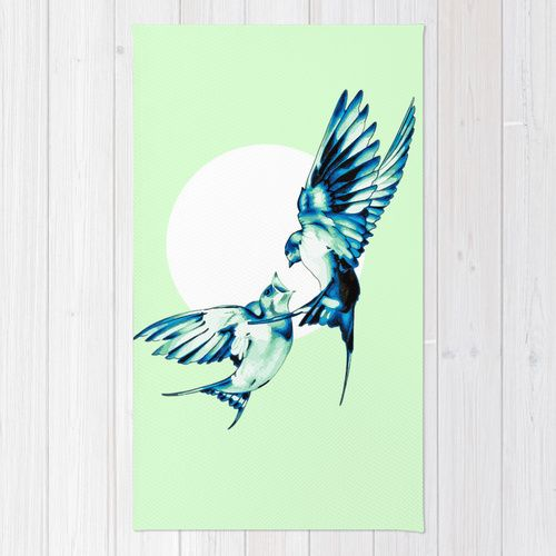 Birds Area & Throw Rug by Nuam | Society6  ☀ ☀ ☀    #Bird, #Vector, #Swallow, #Spring, #Nature, #Birds, #Animal, #Animals, #Illustration, #Love, #Family, #Trust, #Feed, #Food, #Hipster, #Swallows, #Care, #Fly, #Spring, #Wings, #TwoBirds, #Romantic, #Bohemian, #Fly, #Flying #FlyingBird, #FlyingBirds #Decorative #homedecor #rug #mint #white #blue #delicate