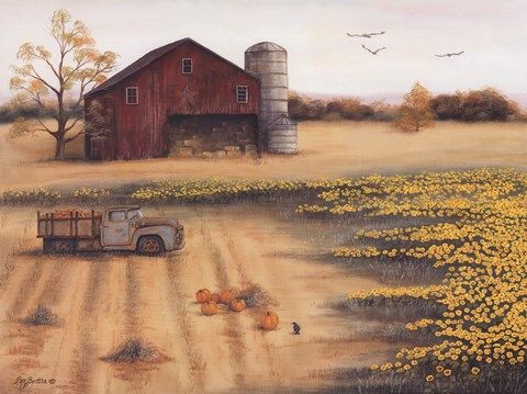 Barn Amp Sunflowers Ii Art Pam Britton Pinterest