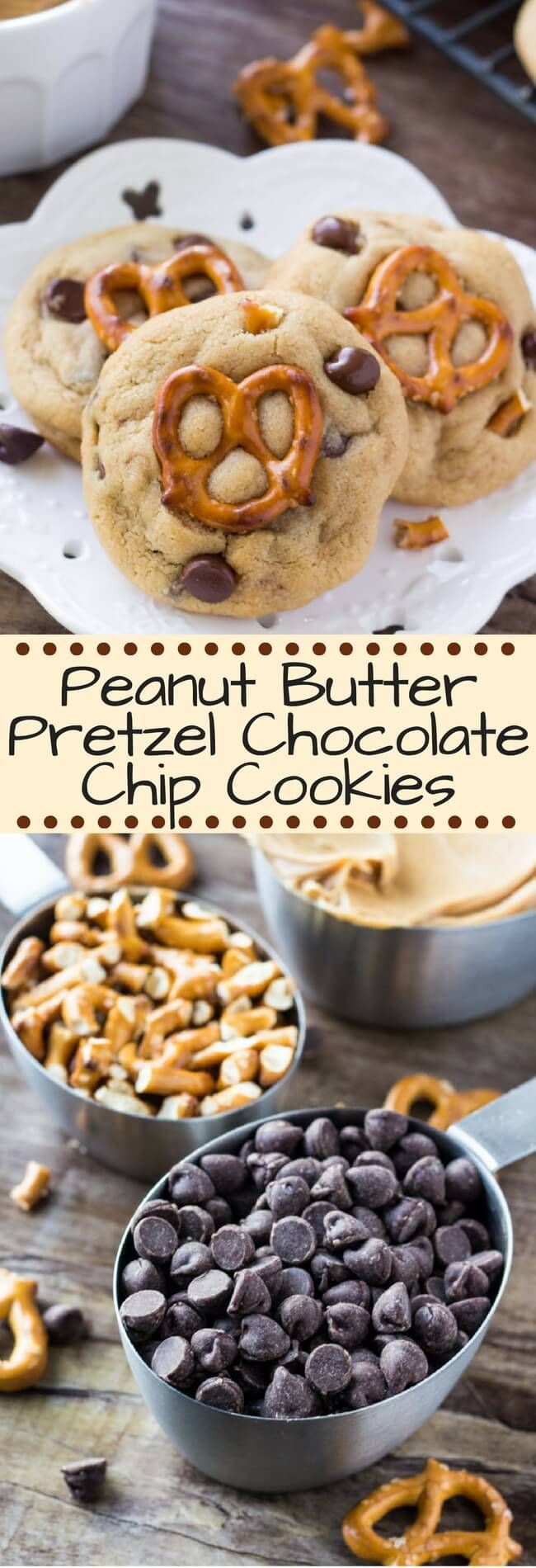 Peanut Butter Pretzel Chocolate Chip Cookies - salty, sweet, chewy, crunchy goodness in cookie form. These cookies have it all! #peanutbuttercookies #peanutbutterpretzel #chocolatechipcookies