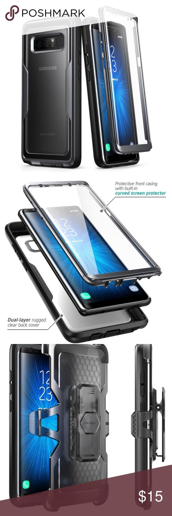 NIB I-Blason Galaxy Note 8 case Brand new in box. i-Blason Galaxy Note 8 Case, [Heavy Duty Protection] [Clear Back] [Magma Series] Shock Reduction / Full body Bumper Case with Built-in Screen Protector for Samsung Galaxy Note 8 2017 (Black) Accessories Phone Cases