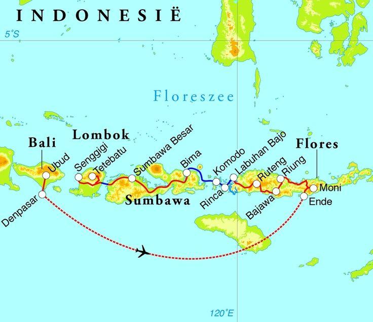 Routekaart Rondreis Kleine Sunda eilanden, 21 dagen