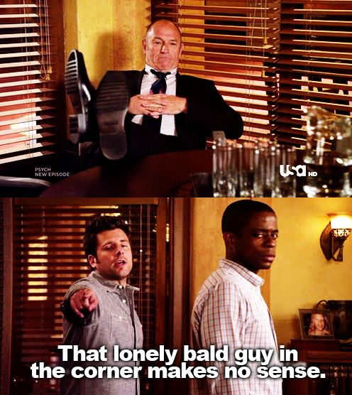 """I love how he could have just said, """"He makes no sense."""" But instead he says, """"The lonely bald guy in the corner makes no sense."""""""