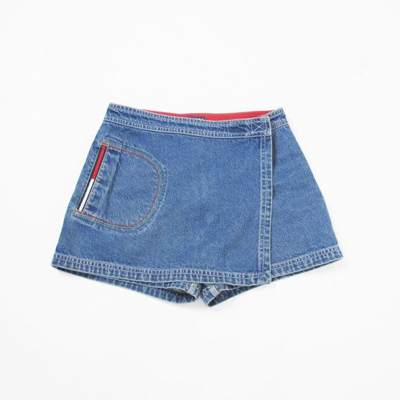 TOMMY HILFIGER Skort 90s Denim Skort Vintage High by honeymoonmuse