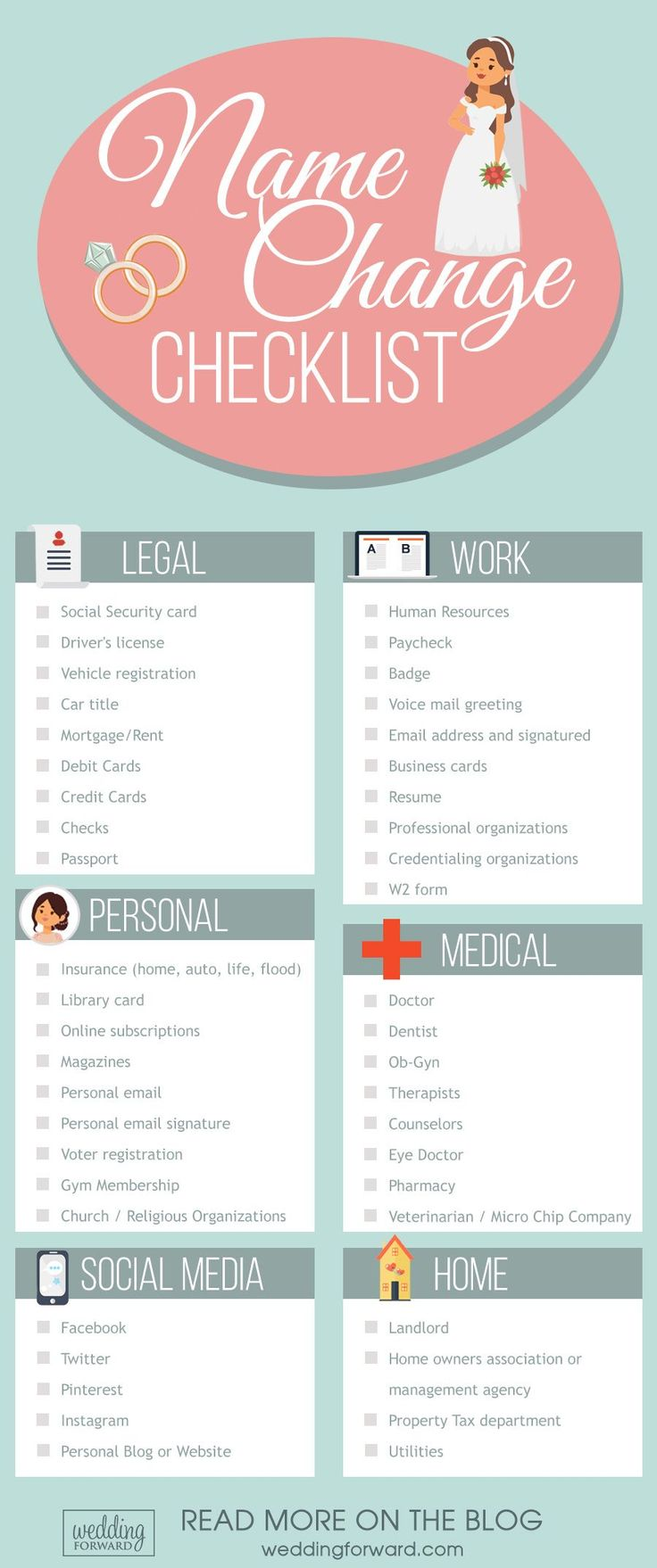 7 Wedding Planning Infographics: Useful Ideas & Tips ❤️ Checklist for changing your name after wedding. See more: http://www.weddingforward.com/wedding-planning-infographics/ #wedding #marriage #checklist