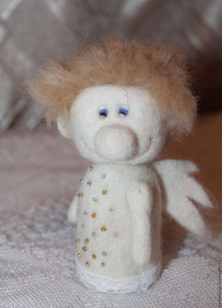 """Купить Игрушка из шерсти Ангел """"Ероша"""" - белый, валяние игрушка, игрушка ангел, игрушка из шерсти"""