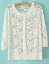 White Long Sleeve Embroidery Lace Cardigan