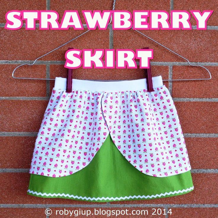 Strawberry skirt for little girls - RobyGiup handmade #sewing #girl #clothing