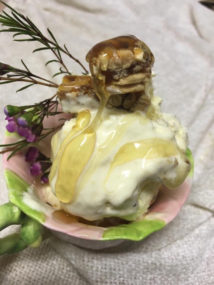 Honey, macadamia nougat, fresh cream and peanut brittle ice cream