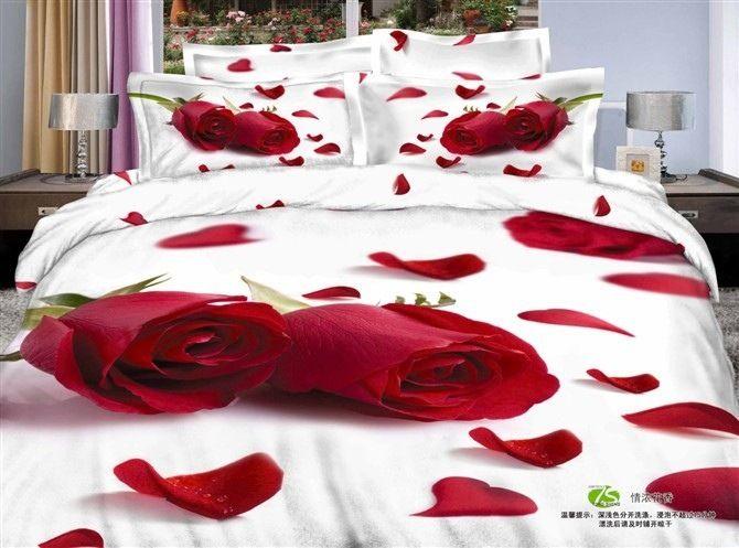 Luxe rode rozen 3d effect 4 stuks beddengoed set 100 % katoen reactief bedrukt beddengoed queen size bruiloft