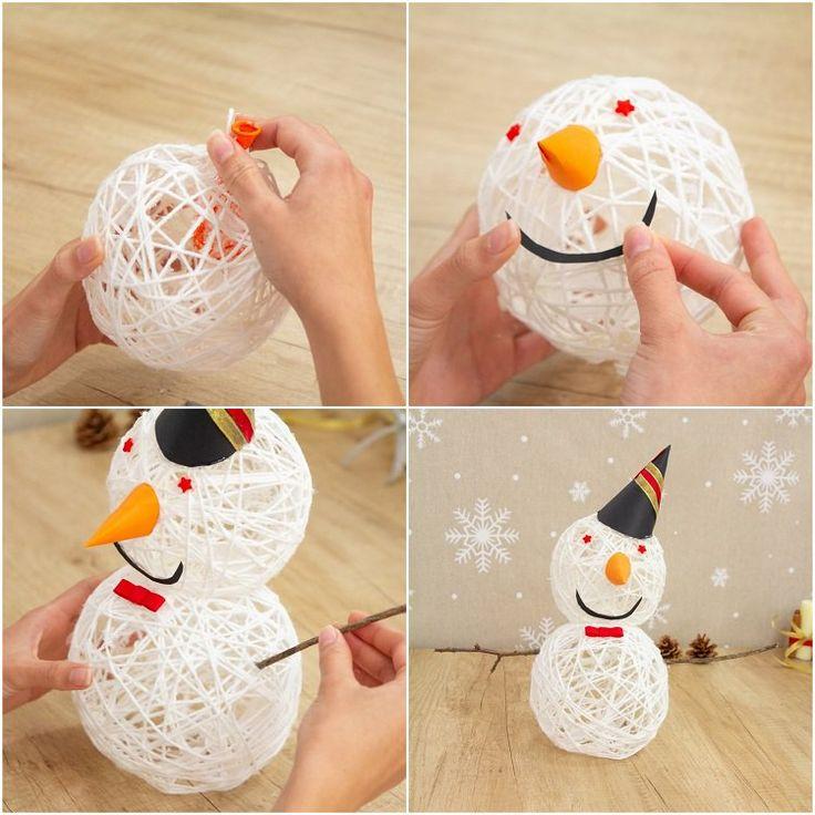 Schneemann aus Wollgarn basteln schöne Weihnacht…