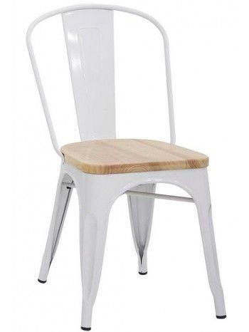Incantevole e particolare sedia, sfiziosa in ogni ambiente. Resistente e robusta, con struttura in metallo verniciato e seduta in legno. E' inoltre anche impilabile. Si adatta perfettamente agli ambienti moderni o stile vintage industriale. Disponibile nei colori: bianco, rosso, nero, arancio, verde, blu, grigio e giallo.