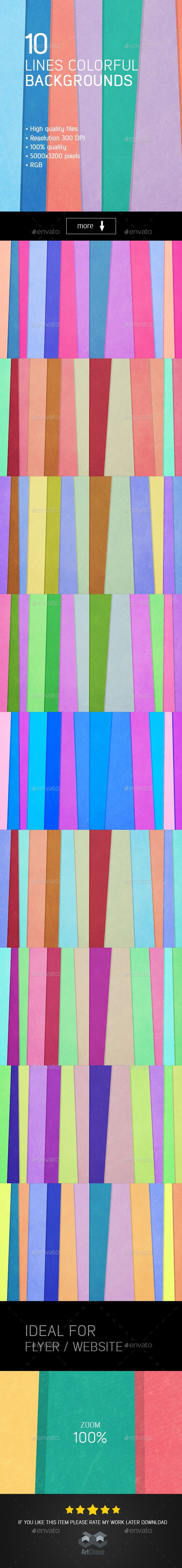 10 Lines Colorful Backgrounds - Abstract Backgrounds
