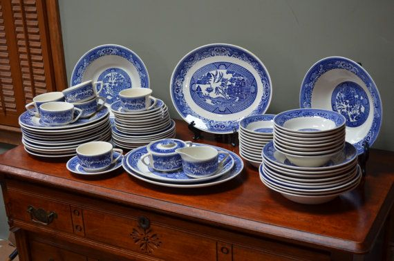 Blue Willow Set Matched China 68 Pieces Dinnerware Set of Blue Willow Dishes Midcentury Royal China (USA) Large Set
