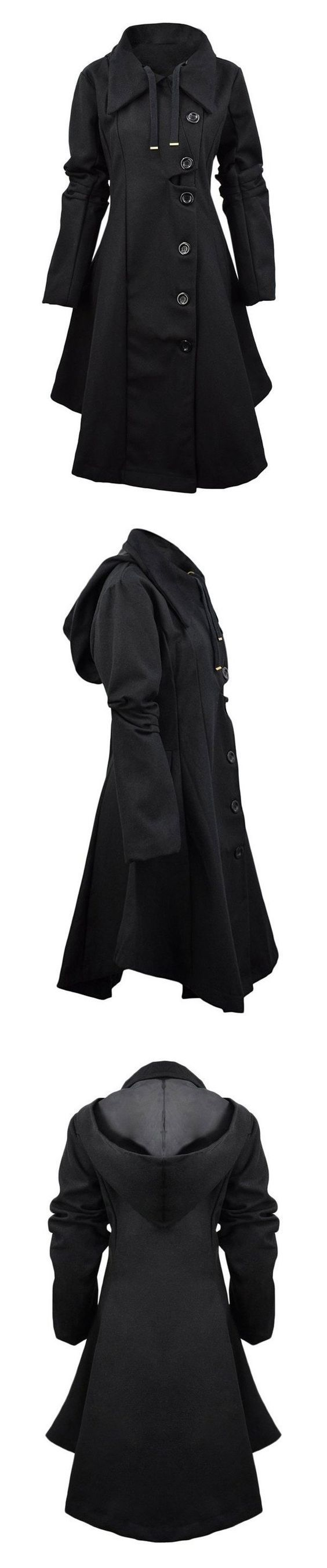 Only $44.99!This women high-quality woolen fabric Long coat detailed with a big hat,Single-breasted ,Lapel collar,Slim shape,waisted pattern & asymmetrical hem.Keep  you warm in this fall/winter!| Now Free Shipping & Easy Return, Very popular and thick coat that deserved to be put into your wardrobe,Go against the cold! Search more fashion clothing at vogueclips.com