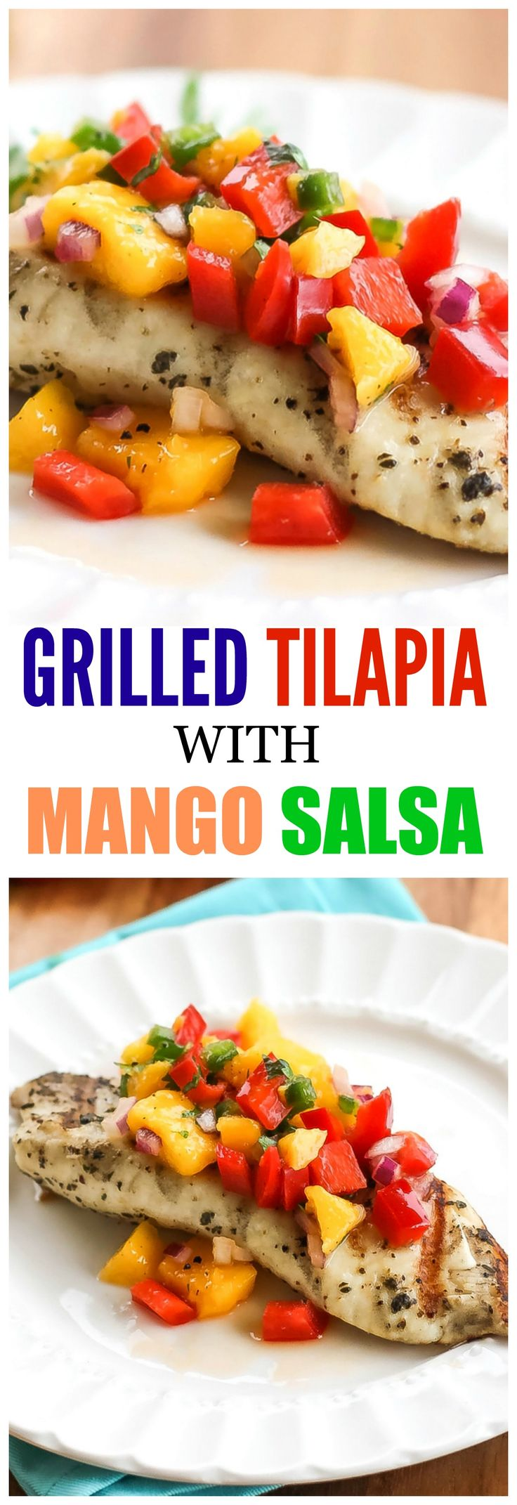 Grilled Tilapia with Mango Salsa - fresh, clean, and healthy. the-girl-who-ate-everything.com