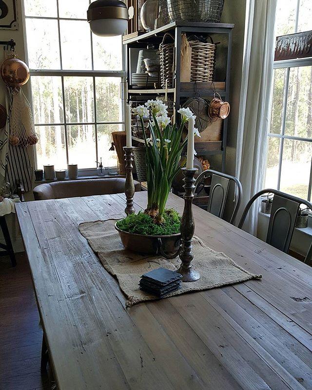 Simple Table Decor Paperwhites Copper Pots And Burlap Sack Instagram Beesnburlap