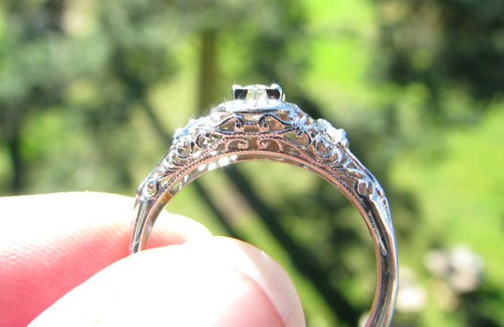 RESERVED Intricate Engagement Ring Fiery European Cut by Franziska