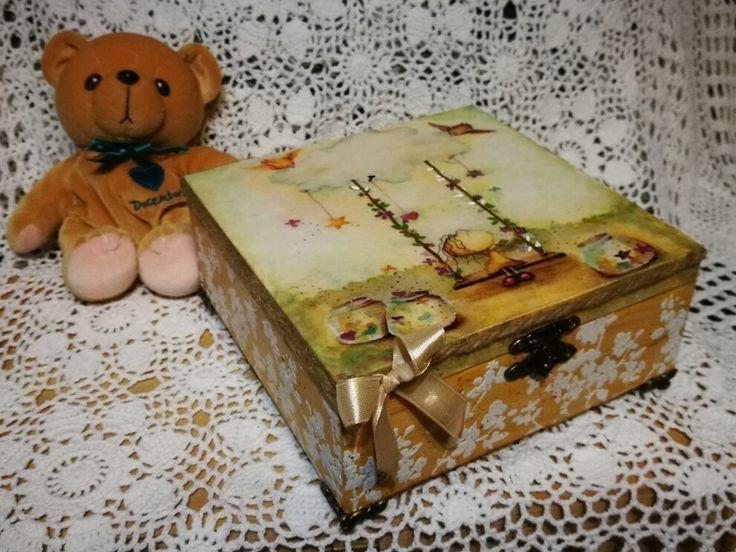 Bájos kislányos dobozka / little cute box for girl, wooden box, decoupage,