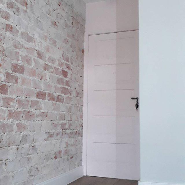 A porta rosa na vida real.  A cor dela é o Rubor Noturno da @tintascoral, o rodapé é da @eucatex_oficial, a luminária é @lustresyamamura_ e a parede é de tijolinho real oficial. Nela foi aplicado um hidrofugante, que protege e evita de soltar pó. Projeto de @unearqdesign.  #diariodareforma #porta #apartamentopequeno #sala