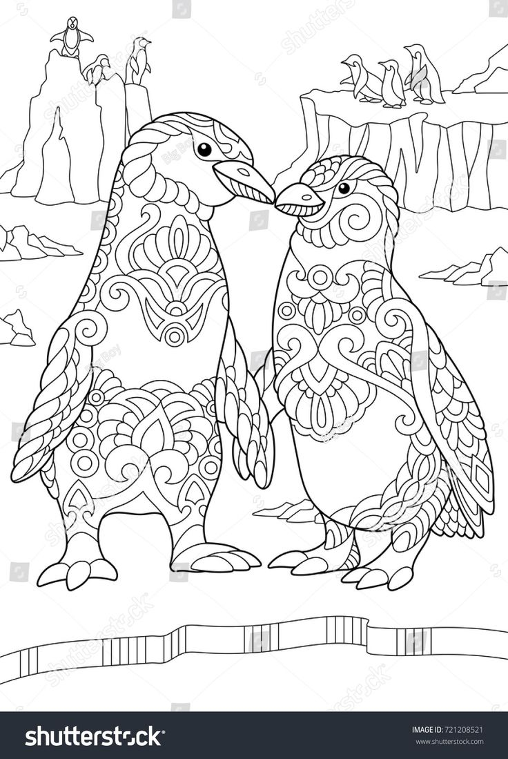 Coloring page of emperor penguins couple kissing each