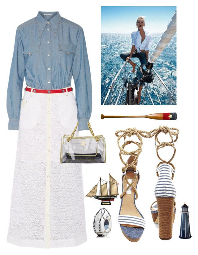"""Boating Fashion my look"" by kotnourka ❤ liked on Polyvore featuring Alessandra Rich, Steve Madden, Bensimon, Authentic Models, DutchCrafters, Kate Spade and Chanel"