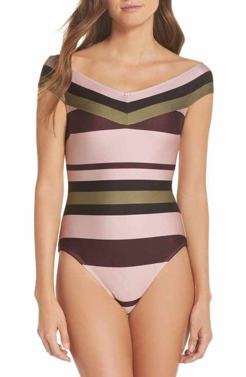 b946c295337 Ted Baker London Imperial Stripe Bardot One-Piece Swimsuit   Tops I ...