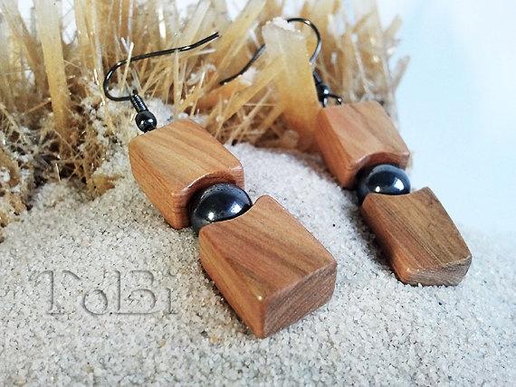 Wooden earrings juniper tree jewelry by ToBicouple on Etsy. $15.00, via Etsy.