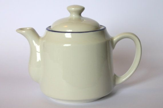 Small Teapot White with blue rim Carrigaline by ThriftyAmos, €10.00