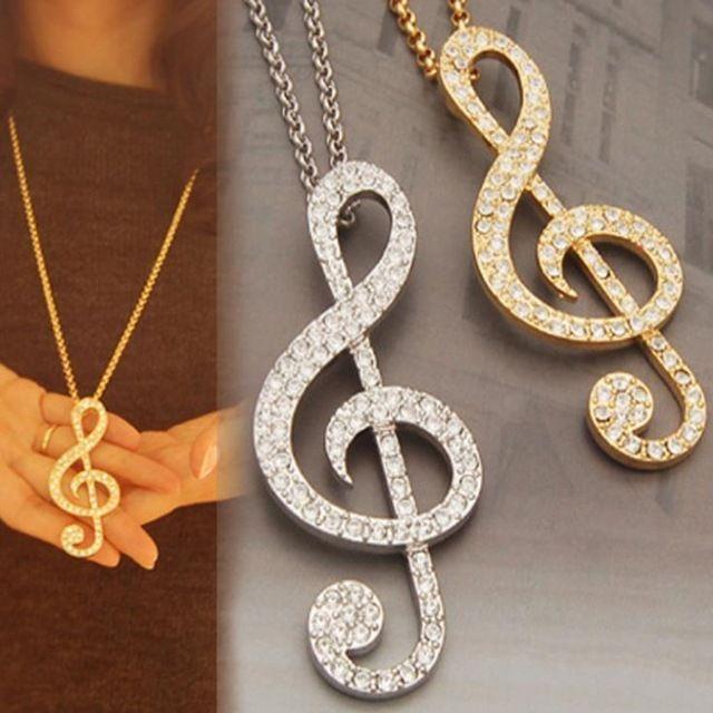 Charme Strass Decoração Símbolo de Música Colar Gargantilha Pingentes Moda Jóias de qualidade superior
